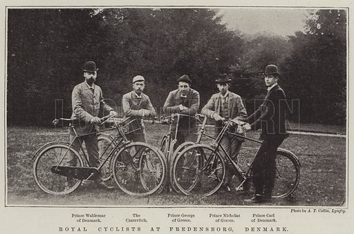 Royal Cyclists at Fredensborg, Denmark. Illustration for The Illustrated London News, 28 October 1893.