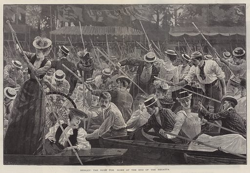 Henley, the Rush for Home at the End of the Regatta. Illustration for The Illustrated London News, 8 July 1893.