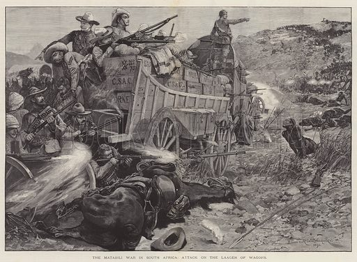 The Matabili War in South Africa, Attack on the Laager of Wagons. Illustration for The Illustrated London News, 9 December 1893.