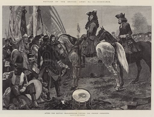 Battles of the British Army, Oudenarde, after the Battle, Marlborough visiting the French Prisoners. Illustration for The Illustrated London News, 26 August 1893.