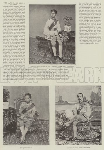 The late Crown Prince of Siam. Illustration for The Illustrated London News, 12 January 1895.