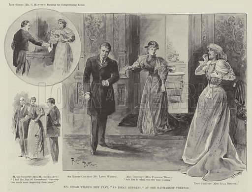 """Mr Oscar Wilde's New Play, """"An Ideal Husband,"""" at the Haymarket Theatre. Illustration for The Illustrated London News, 12 January 1895."""