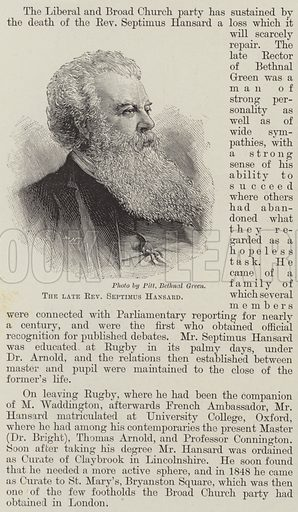 The late Reverend Septimus Hansard. Illustration for The Illustrated London News, 26 January 1895.
