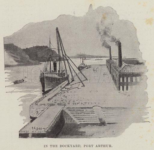 In the Dockyard, Port Arthur. Illustration for The Illustrated London News, 26 January 1895.
