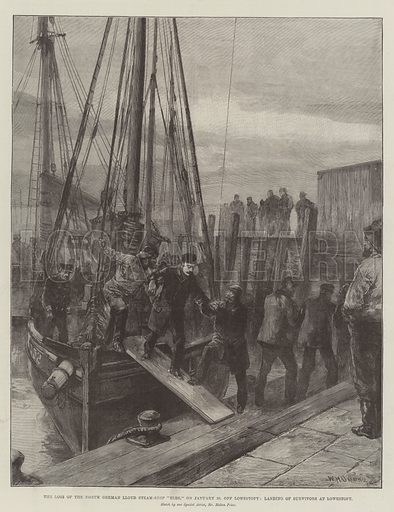 "The Loss of the North German Lloyd Steam-Ship ""Elbe,"" on 30 January, off Lowestoft, Landing of Survivors at Lowestoft. Illustration for The Illustrated London News, 9 February 1895."