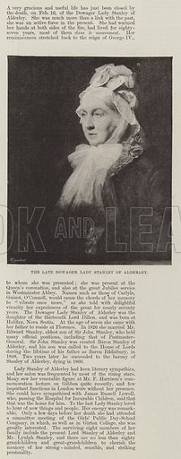 The late Dowager Lady Stanley of Alderley. Illustration for The Illustrated London News, 23 February 1895.