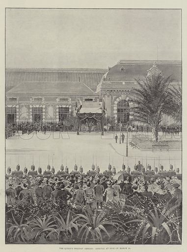 The Queen's Holiday Abroad, Arrival at Nice on 15 March. Illustration for The Illustrated London News, 23 March 1895.