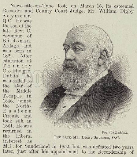 The late Mr Digby Seymour, QC Illustration for The Illustrated London News, 23 March 1895.
