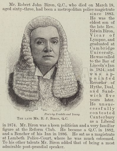 The late Mr RJ Biron, QC Illustration for The Illustrated London News, 23 March 1895.