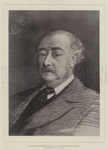 Sir Matthew White Ridley, Baronet, MP, a Candidate for the Speakership. Illustration for The Illustrated London News, 30 March 1895.