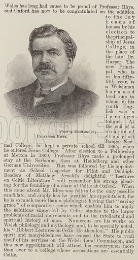 Professor Rhys. Illustration for The Illustrated London News, 30 March 1895.