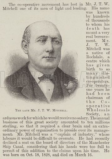 The late Mr JTW Mitchell. Illustration for The Illustrated London News, 30 March 1895.