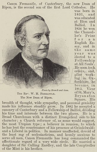 The Reverend WH Fremantle, the New Dean of Ripon. Illustration for The Illustrated London News, 13 April 1895.