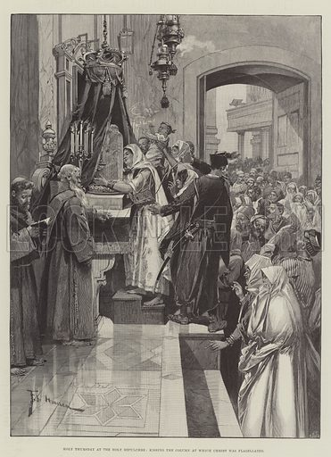 Holy Thursday at the Holy Sepulchre, kissing the Column at which Christ was flagellated. Illustration for The Illustrated London News, 13 April 1895.