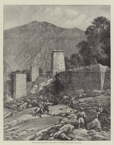 The Chitral Expedition, the Fort at Chitral as seen from the River. Illustration for The Illustrated London News, 20 April 1895.