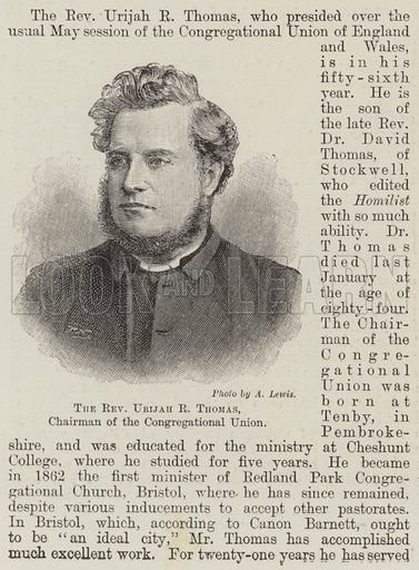 The Reverend Urijah R Thomas, Chairman of the Congregational Union. Illustration for The Illustrated London News, 11 May 1895.