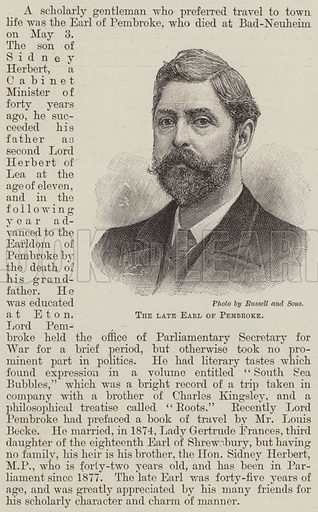The late Earl of Pembroke. Illustration for The Illustrated London News, 11 May 1895.