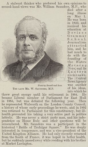 The late Mr W Saunders, MP Illustration for The Illustrated London News, 11 May 1895.