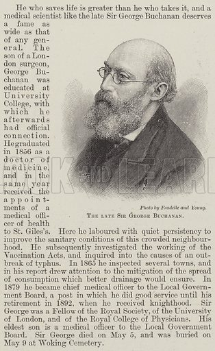 The late Sir George Buchanan. Illustration for The Illustrated London News, 18 May 1895.