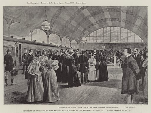 Departure of Queen Wilhelmina and the Queen Regent of the Netherlands, Scene at Victoria Station on 9 May. Illustration for The Illustrated London News, 18 May 1895.