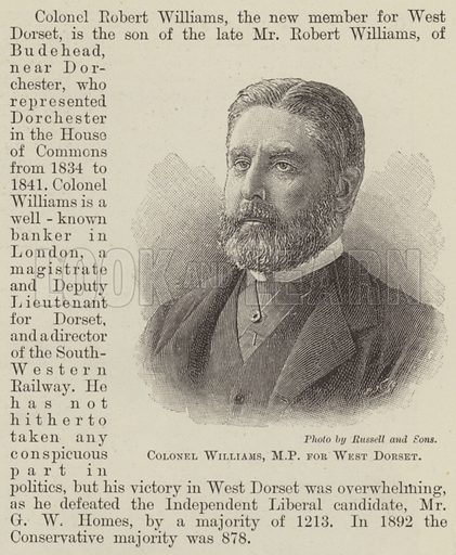 Colonel Williams, MP for West Dorset. Illustration for The Illustrated London News, 25 May 1895.