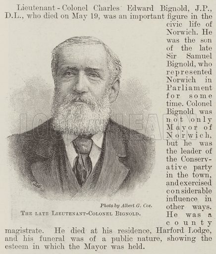 The late Lieutenant-Colonel Bignold. Illustration for The Illustrated London News, 15 June 1895.