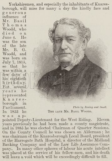 The late Mr Basil Woodd. Illustration for The Illustrated London News, 15 June 1895.