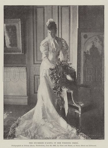 The Duchesse d'Aosta in her Wedding Dress. Illustration for The Illustrated London News, 29 June 1895.