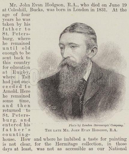 The late Mr John Evan Hodgson, RA Illustration for The Illustrated London News, 29 June 1895.