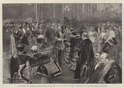 His Highness the Shahzada Nasrullah Khan on his Visit to the Guildhall, on 6 June, Presentation of the City's Address of Welcome. Illustration for The Illustrated London News, 15 June 1895.