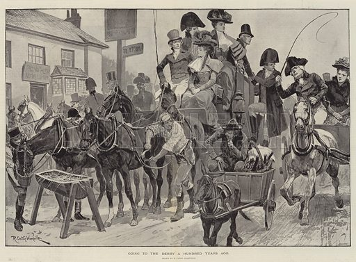 Going to the Derby a Hundred Years ago. Illustration for The Illustrated London News, 1 June 1895.