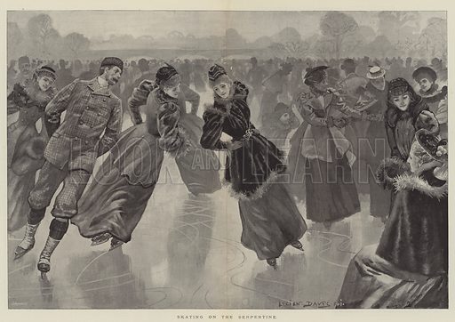 Skating on the Serpentine. Illustration for The Illustrated London News, 2 March 1895.