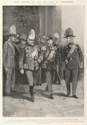 King Edward VII and the Czar at Copenhagen, an Amicable Settlement to a Question of Precedence, King Edward and the Czar leaving the Waiting-Room at Elsinore. Illustration for The Illustrated London News, 21 September 1901.