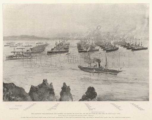 The Combined Mediterranean and Channel Squadrons in Lagos Bay, on the Occasion of the King of Portugal's Visit. Illustration for The Illustrated London News, 21 September 1901.