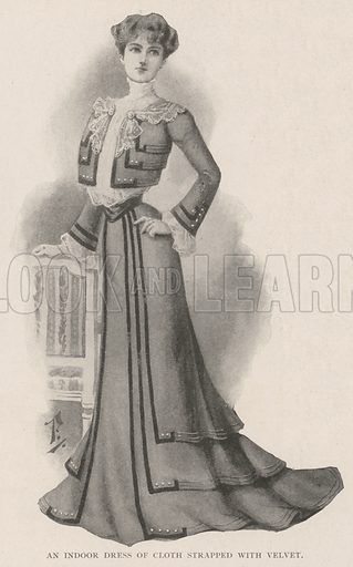An Indoor Dress of Cloth strapped with Velvet. Illustration for The Illustrated London News, 21 September 1901.