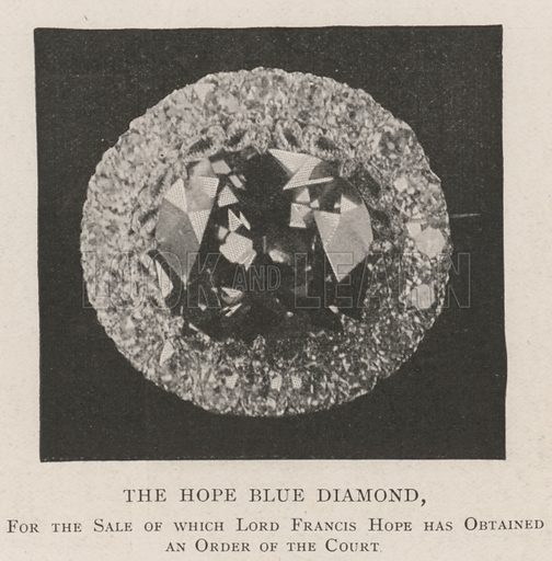 The Hope Blue Diamond, for the Sale of which Lord Francis Hope has obtained an Order of the Court. Illustration for The Illustrated London News, 28 September 1901.