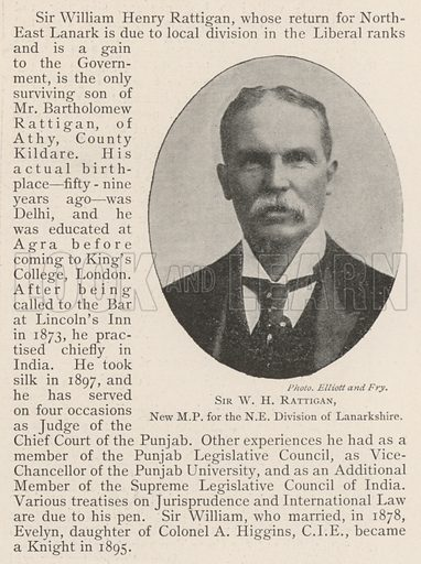 Sir WH Rattigan, New MP for the NE Division of Lanarkshire. Illustration for The Illustrated London News, 5 October 1901.