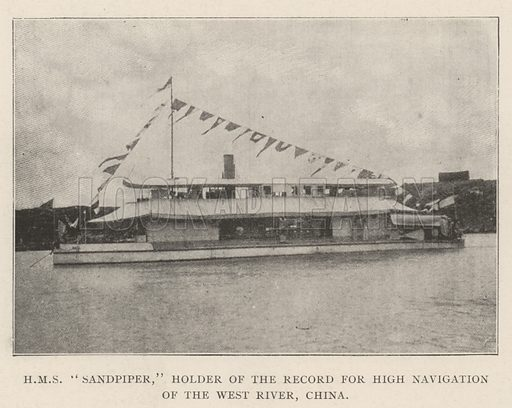 "HMS""Sandpiper,"" Holder of the Record for High Navigation of the West River, China. Illustration for The Illustrated London News, 5 October 1901."