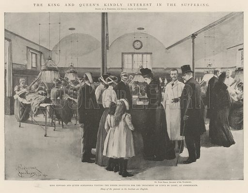 The King and Queen's Kindly Interest in the Suffering, King Edward and Queen Alexandra visiting the Finsen Institute for the Treatment of Lupus by Light, at Copenhagen. Illustration for The Illustrated London News, 5 October 1901.