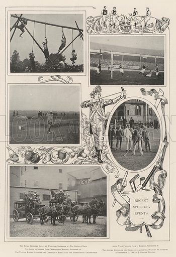 Recent Sporting Events. Illustration for The Illustrated London News, 5 October 1901.
