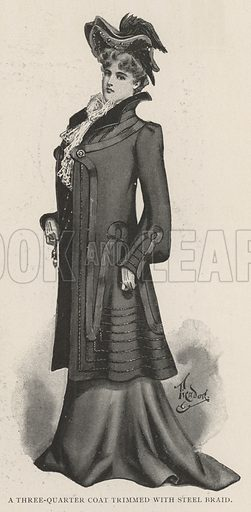 A Three-Quarter Coat trimmed with Steel Braid. Illustration for The Illustrated London News, 5 October 1901.