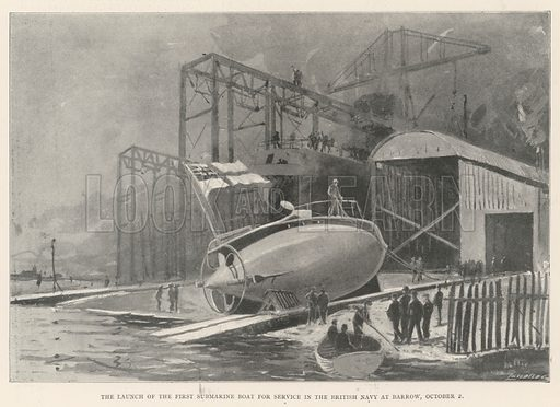 The Launch of the First Submarine Boat for Service in the British Navy at Barrow, 2 October. Illustration for The Illustrated London News, 12 October 1901.