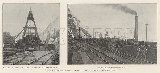 The Development of Coal Mining in Kent, Views at the Workings. Illustration for The Illustrated London News, 12 October 1901.