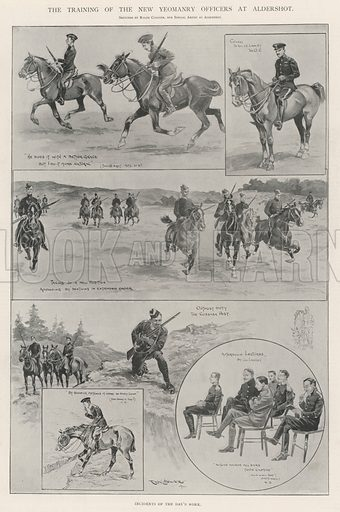 The Training of the New Yeomanry Officers at Aldershot, Incidents of the Day's Work. Illustration for The Illustrated London News, 19 October 1901.
