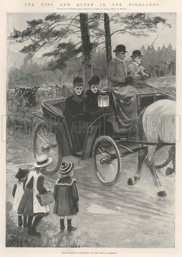 The King and Queen in the Highlands, Her Majesty's Greeting to her Small Subjects. Illustration for The Illustrated London News, 19 October 1901.