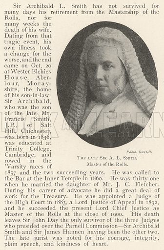 The late Sir AL Smith, Master of the Rolls. Illustration for The Illustrated London News, 26 October 1901.