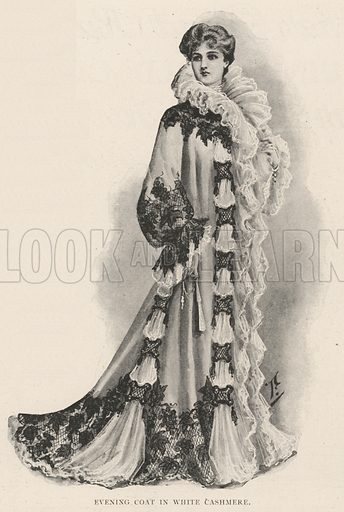Evening Coat in White Cashmere. Illustration for The Illustrated London News, 26 October 1901.