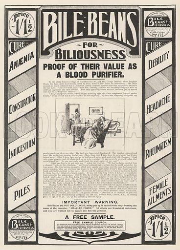 Advertisement, Bile Beans. Illustration for The Illustrated London News, 26 October 1901.