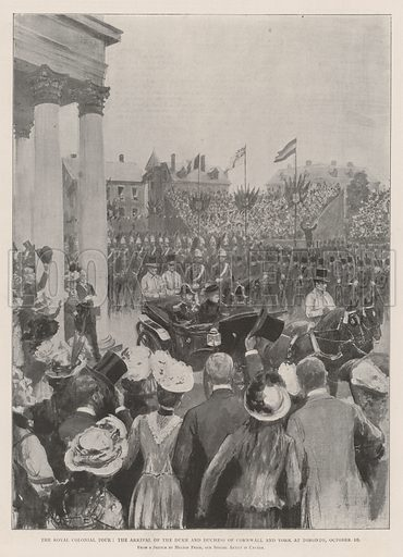 The Royal Colonial Tour, the Arrival of the Duke and Duchess of Cornwall and York at Toronto, 10 October. Illustration for The Illustrated London News, 2 November 1901.
