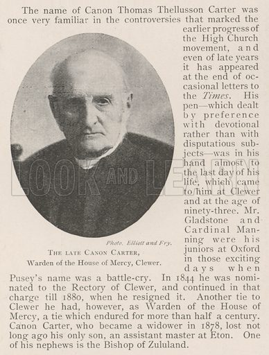 The late Canon Carter, Warden of the House of Mercy, Clewer. Illustration for The Illustrated London News, 2 November 1901.